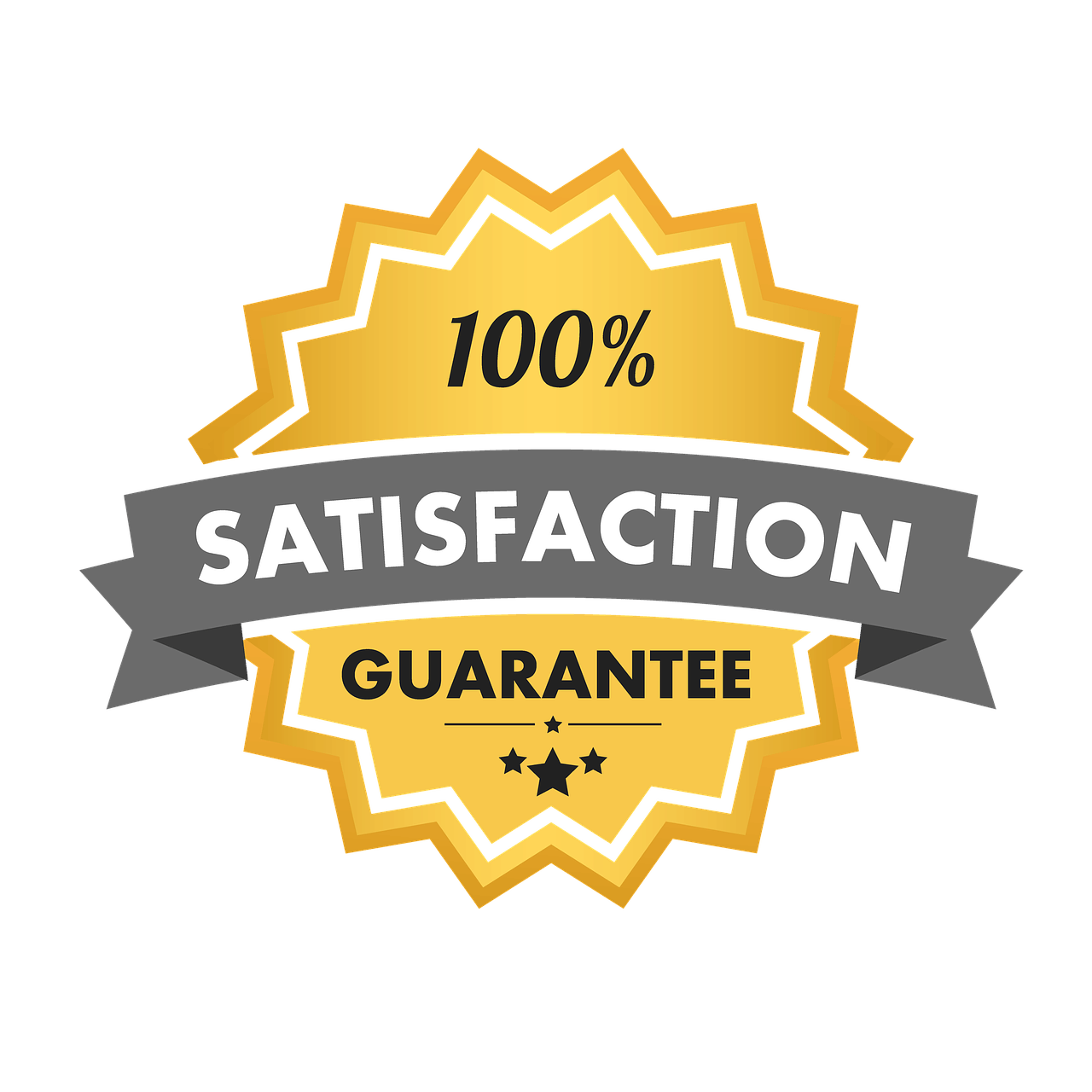 satisfaction guarantee, 100 satisfaction, seal